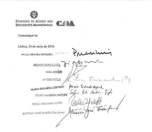 Elementos que assinaram o parecer